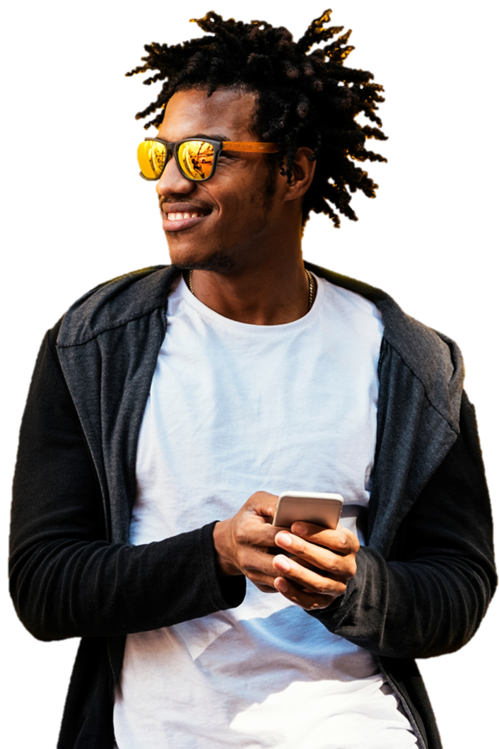 afro-american guy with mobile in his hands